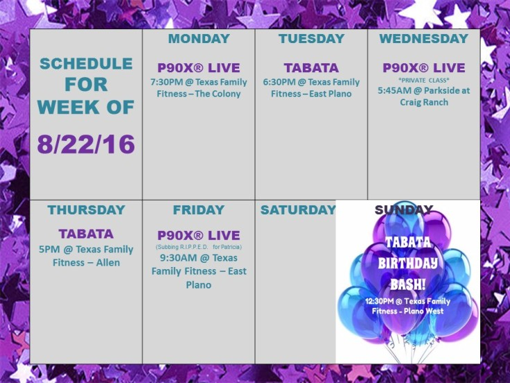 BF weekly schedule